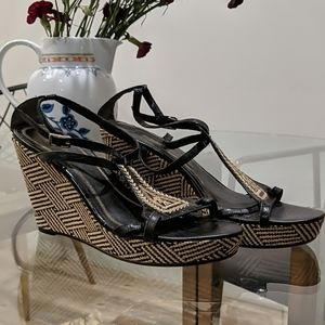 Nine West Wedge Heel Sandals Embroidery 7.5